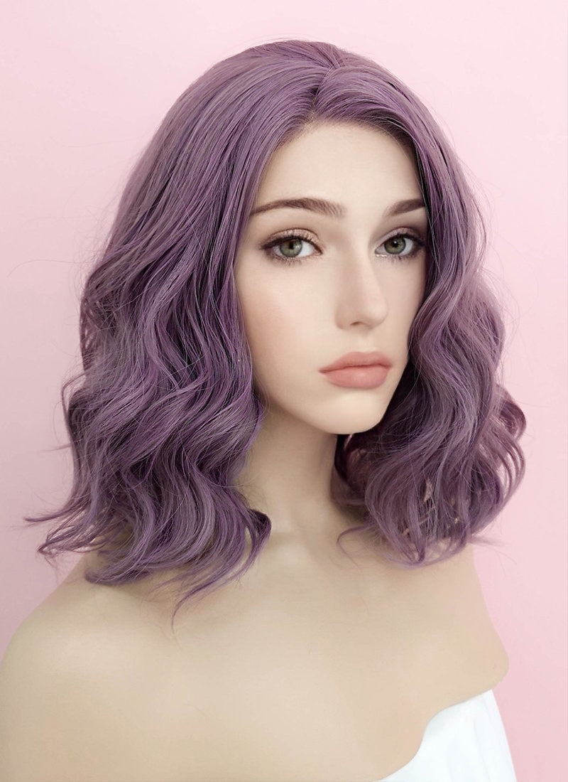 Purple Wavy Bob Lace Front Synthetic Wig LF1735 - Wig Is Fashion