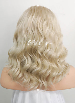 Light Ash Blonde Wavy Lace Front Synthetic Wig LF1737 - Wig Is Fashion