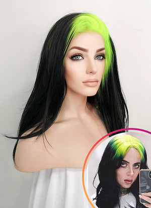 Billie Eilish Black With Neon Green Roots Straight Lace Front Synthetic Wig LF1743