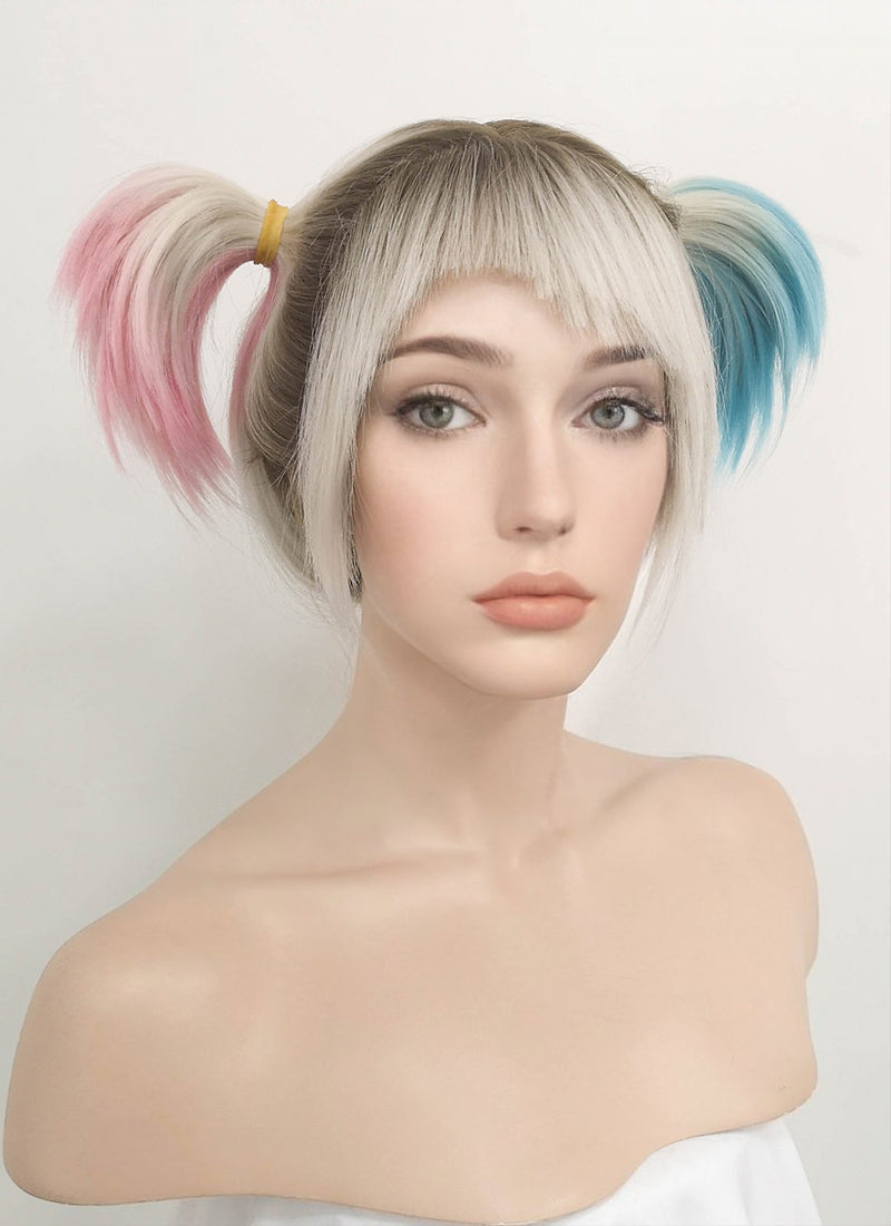 Birds of Prey Harley Quinn Blonde Pink Blue Ponytail With Brown Roots Wavy Lace Front Synthetic Wig LF1744 - Wig Is Fashion