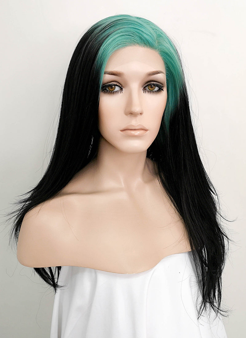 Billie Eilish Black With Neon Blue Roots Wavy Lace Front Synthetic Wig LF1753