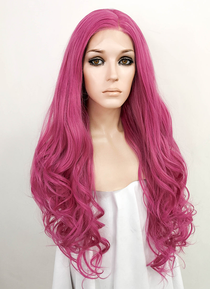Rose Pink Wavy Lace Front Synthetic Wig LF1758