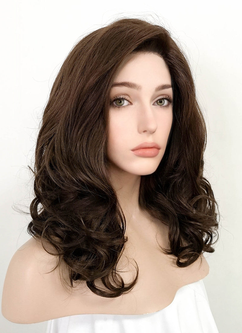 Brunette Wavy Bob Lace Front Synthetic Wig LF256 - Wig Is Fashion
