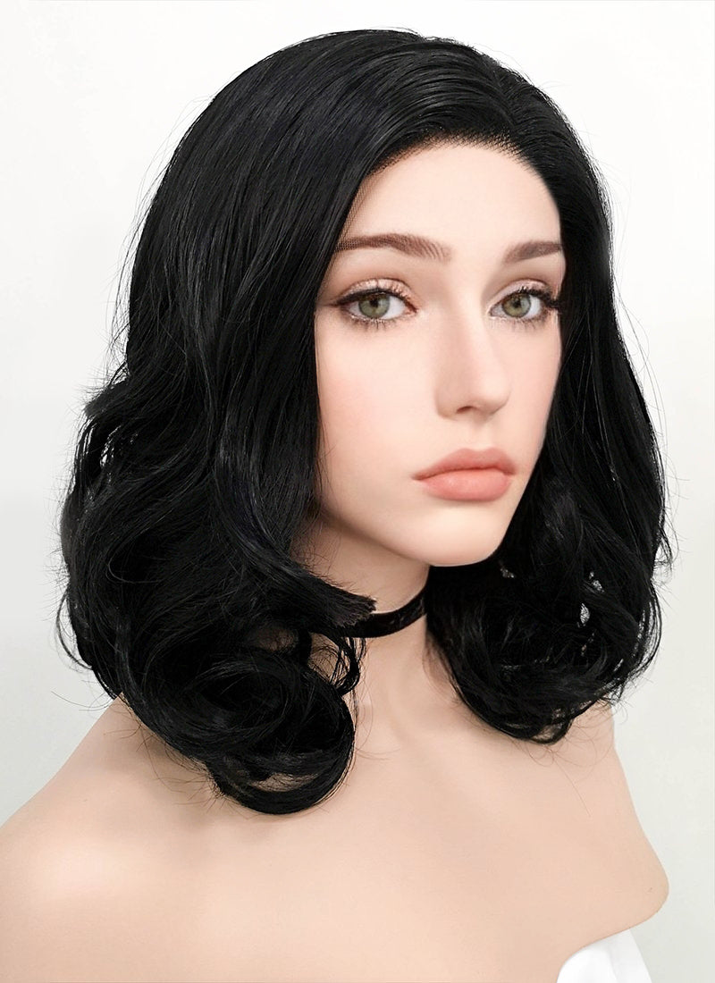 Jet Black Wavy Bob Lace Front Synthetic Wig LF257 - Wig Is Fashion