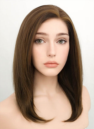 Brunette Straight Bob Lace Front Synthetic Wig LF268 - Wig Is Fashion