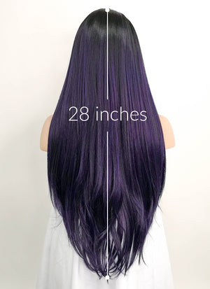 Dark Purple With Dark Roots Straight Lace Front Synthetic Wig LF3135 - Wig Is Fashion