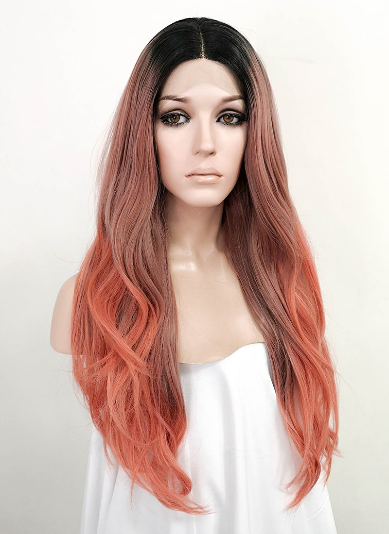 Tone Tone Pink With Dark Roots Wavy Lace Front Synthetic Wig LF3158