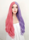 Pink Purple Split Color Wavy Lace Front Synthetic Wig LF3159