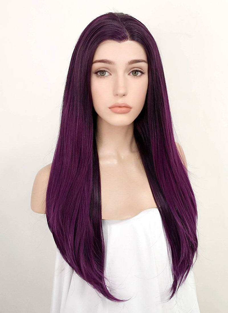 Dark Purple Straight Lace Front Synthetic Wig LF3160