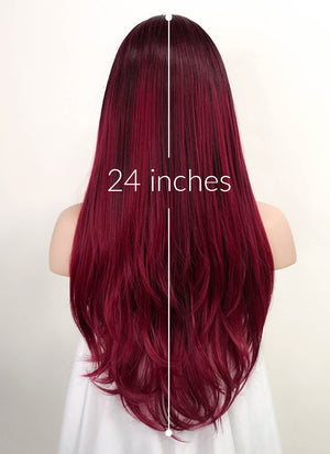 Two Tone Red Straight Lace Front Synthetic Wig LF3177