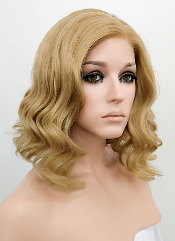 "24"" Long Curly Light Ash Blonde Lace Front Synthetic Hair Wig LF101"