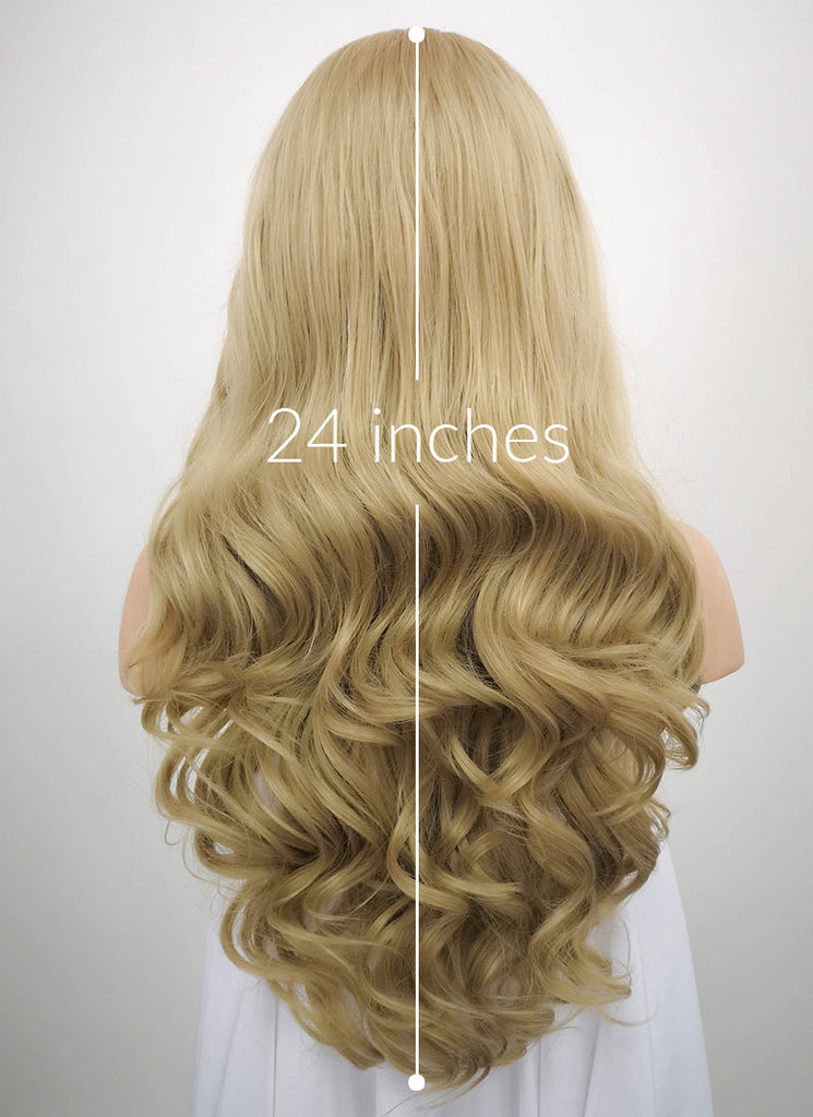 "24"" Wavy Ash Blonde Lace Front Synthetic Wig LF373 - Wig Is Fashion"