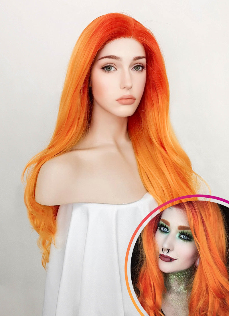 Wavy Mixed Orange Lace Front Synthetic Wig LF383 - Wig Is Fashion
