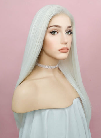 "24"" Long Straight Grey Blonde Lace Front Synthetic Hair Wig LF238"