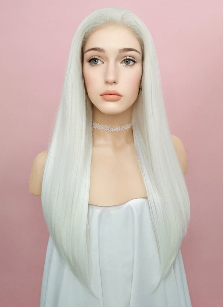 "24"" Straight White Lace Front Synthetic Wig LF387 - Wig Is Fashion"