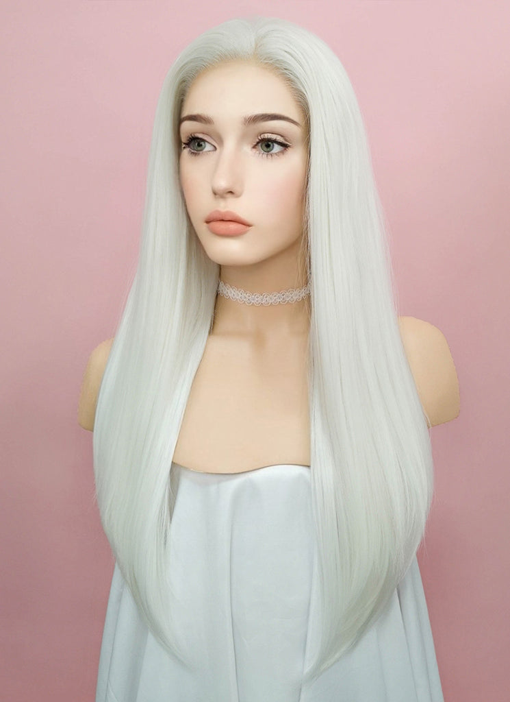 "24"" Long Straight White Lace Front Synthetic Hair Wig LF387"