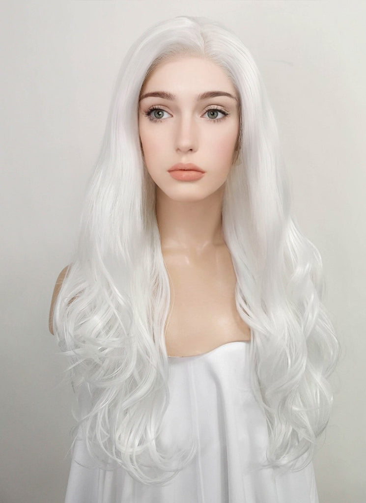 "24"" Wavy White Lace Front Synthetic Wig LF389 - Wig Is Fashion"