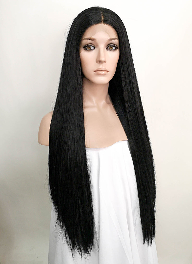 "Black Straight 13"" x 6"" Lace Top Synthetic Wig LF5012"