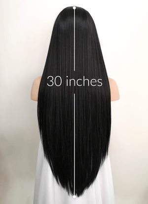 "Black Straight 13"" x 6"" Lace Front Synthetic Wig LF5012"
