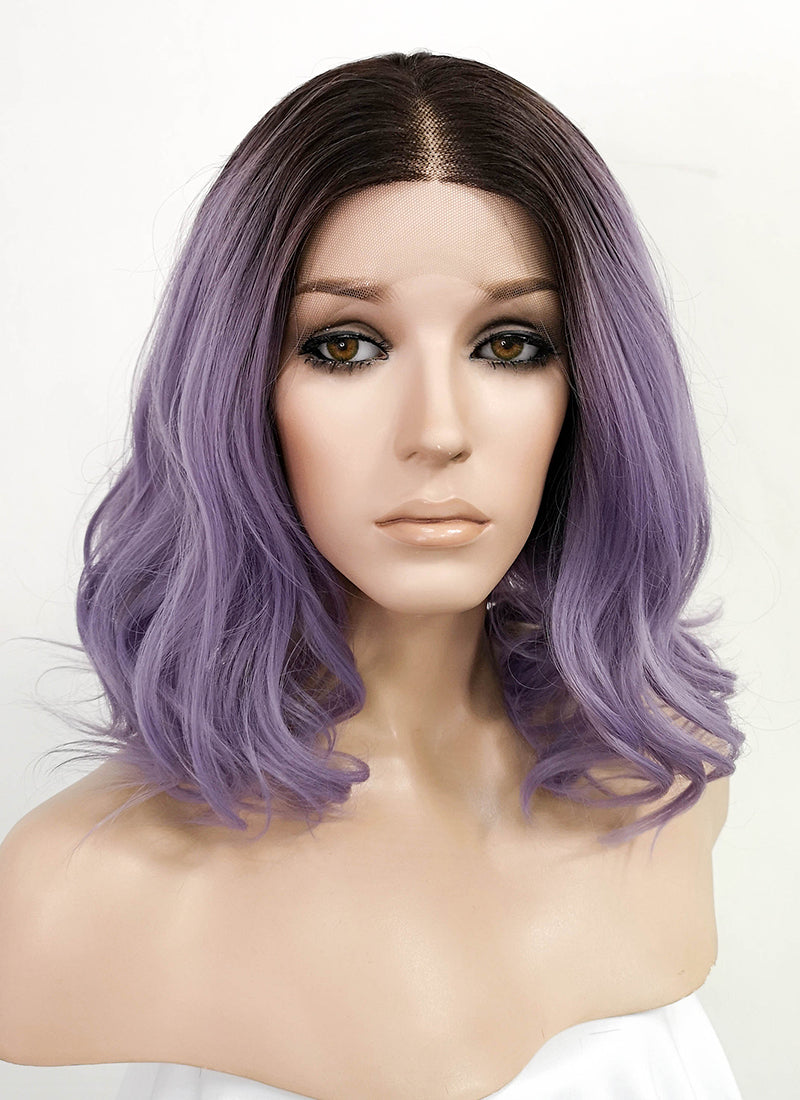 Ash Purple With Dark Roots Wavy Bob Lace Front Synthetic Wig LF5017