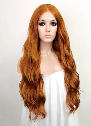 Light Auburn Wavy Lace Front Synthetic Wig LF5039