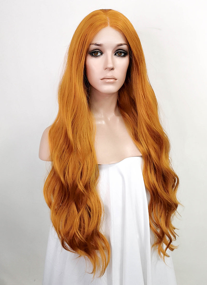 Light Auburn Wavy Lace Front Synthetic Wig LF5041