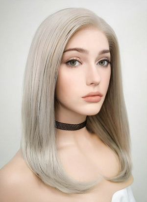 Pastel Grey Blonde Straight Bob Lace Front Synthetic Wig LF509 - Wig Is Fashion