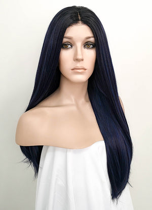 Dark Blue With Dark Roots Straight Lace Front Synthetic Wig LF512 - Wig Is Fashion
