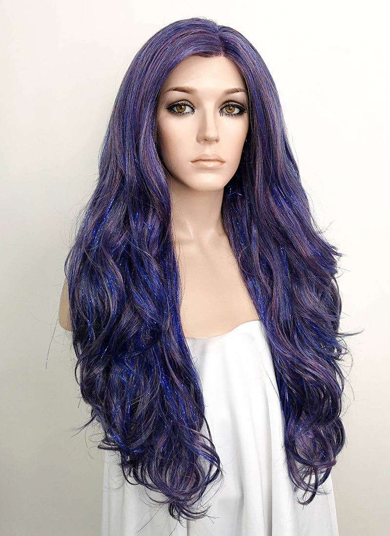 Dark Blue Wavy Lace Front Synthetic Tisnel Wig LF513 - Wig Is Fashion