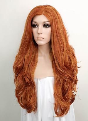 Light Auburn Wavy Lace Front Synthetic Tisnel Wig LF515 - Wig Is Fashion