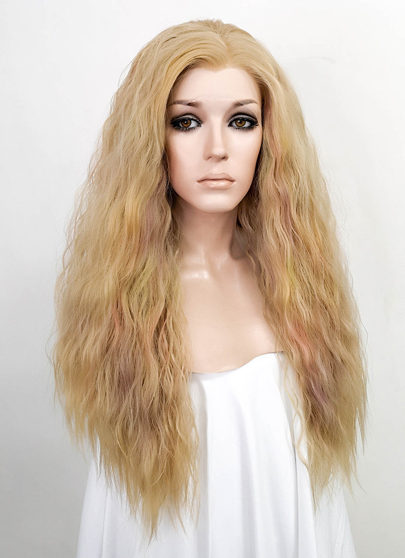 Light Blonde Wavy Lace Front Synthetic Wig LF530