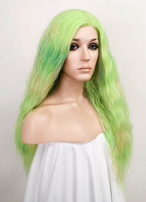 Mixed Light Green Wavy Lace Front Synthetic Wig LF531