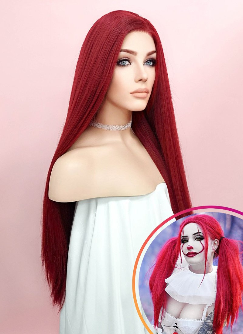 Straight Yaki Red Lace Front Synthetic Wig LF624A - Wig Is Fashion