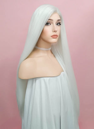 Straight Yaki White Lace Front Synthetic Wig LF624B - Wig Is Fashion