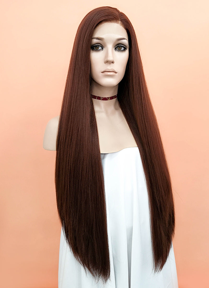 Brown Straight Yaki Lace Front Synthetic Wig LF624E - Wig Is Fashion