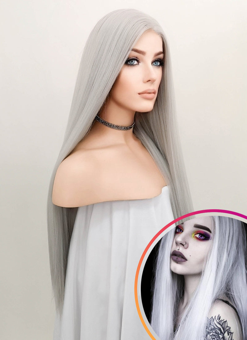 Straight Yaki Silver Grey Lace Front Synthetic Wig LF624N - Wig Is Fashion