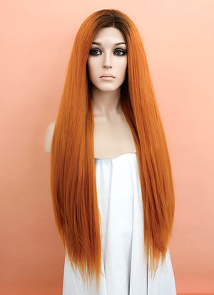 Light Auburn With Dark Roots Straight Yaki Lace Front Synthetic Wig LF624Q - Wig Is Fashion