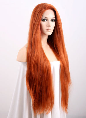 Auburn Straight Yaki Lace Front Synthetic Wig LF624 - Wig Is Fashion