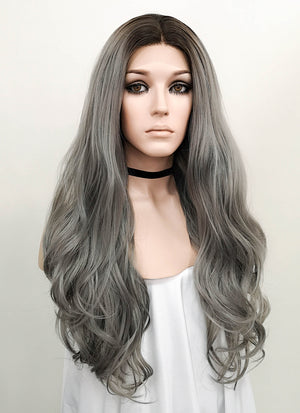 Wavy Grey With Dark Roots Lace Front Synthetic Wig LF697F - Wig Is Fashion