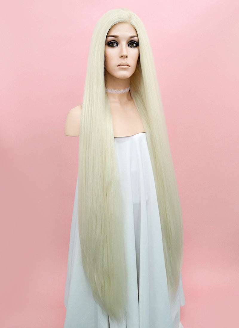 Straight Yaki Platinum Blonde Lace Front Synthetic Wig LF701H - Wig Is Fashion