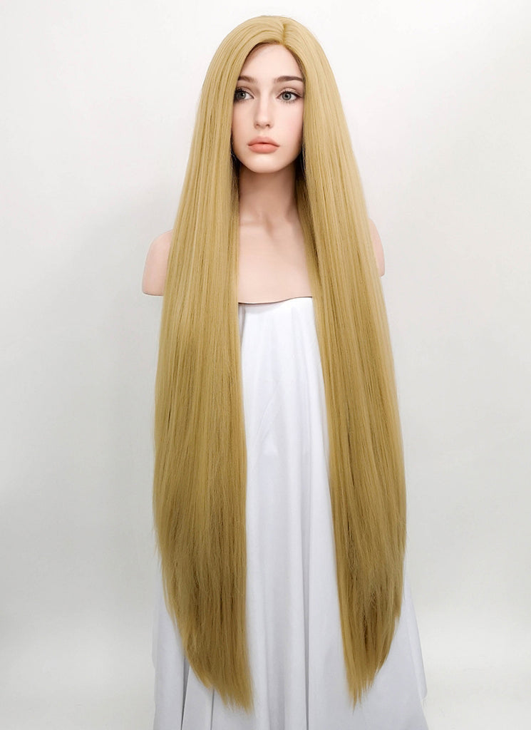 "39"" Long Straight Yaki Blonde Customizable Made-To-Order Lace Front Synthetic Hair Wig LF701S"