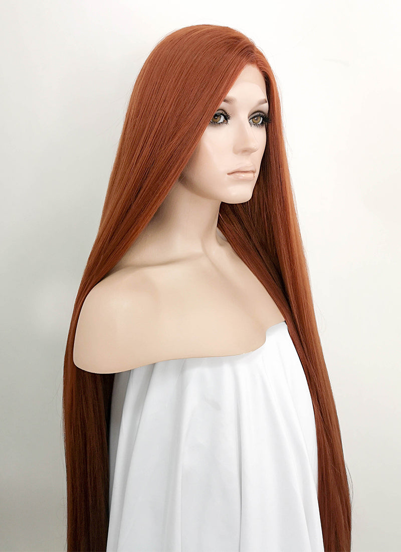 Auburn Straight Yaki Lace Front Synthetic Wig LF701 - Wig Is Fashion