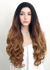 Two Tone Brown With Dark Roots Wavy Lace Front Synthetic Wig LF712 - Wig Is Fashion