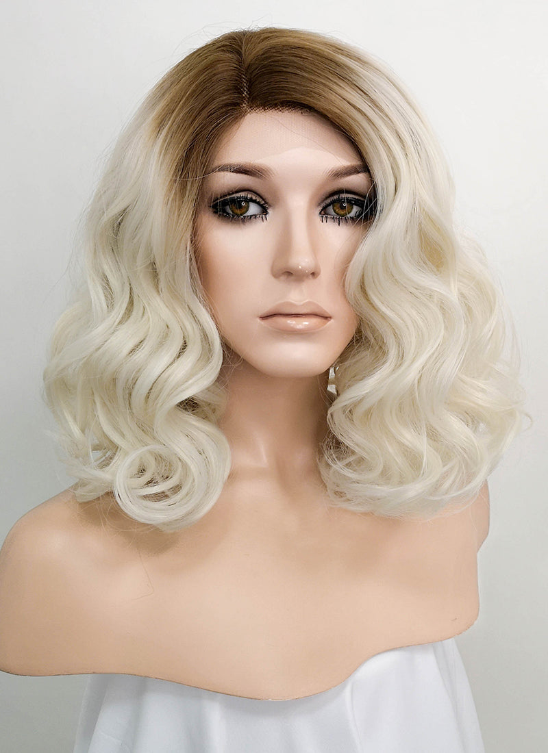Light Blonde With Dark Roots Wavy Bob Lace Front Synthetic Wig LF771M - Wig Is Fashion