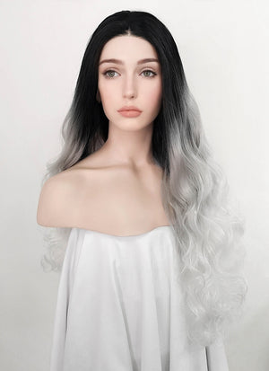 Wavy Black Grey White Ombre Lace Front Synthetic Wig LF781 - Wig Is Fashion