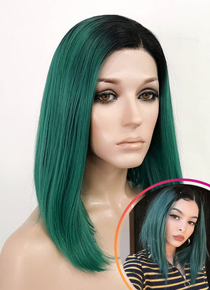 Dark Green With Dark Roots Straight Bob Lace Front Synthetic Wig LF819