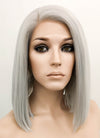 Silver Grey Straight Bob Lace Front Synthetic Wig LF837F - Wig Is Fashion