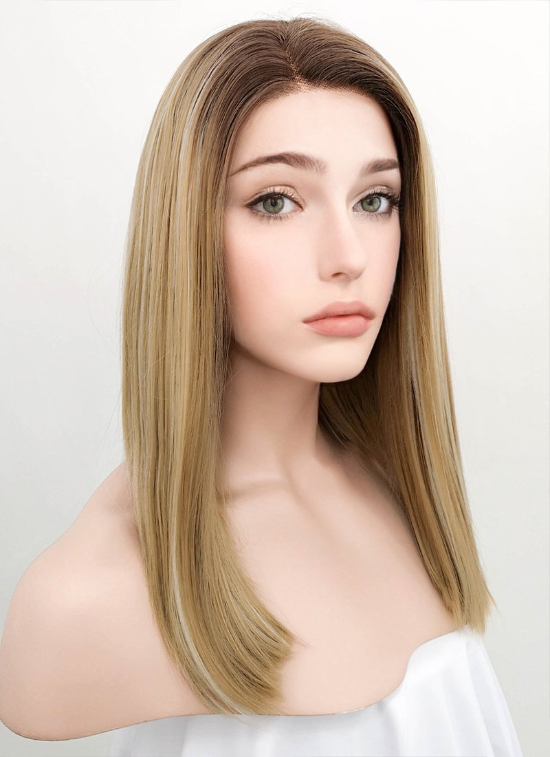 Mixed Blonde With Dark Roots Straight Bob Lace Front Synthetic Wig LF837I - Wig Is Fashion