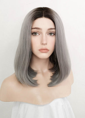 Grey With Dark Roots Straight Bob Lace Front Synthetic Wig LF837 - Wig Is Fashion Australia