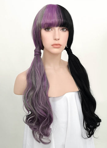 "26"" Long Straight Black Pink Blue Mixed Ombre Lace Front Synthetic Hair Wig LF847"